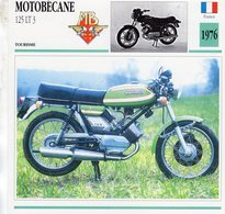 Motobecane 125 LT3  -  1976  - Moto De Tourisme  -  Fiche Technique/Carte De Collection - Motos