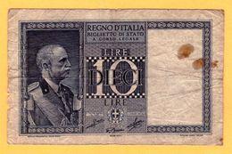 10 LIRE, BIGLIETTO DI STATO - 1944  - Pick 25c - [ 1] …-1946 : Kingdom