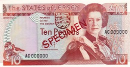 """JERSEY 10 POUNDS ND 1989 SPECIMEN UNC P-17s """"free Shipping Via Registered Air Mail"""" - Jersey"""