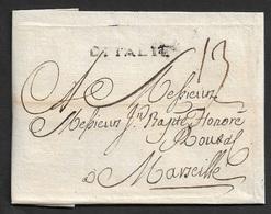 1735 - LSC - LIVORNO - Marque Linéaire D'ITALIE Pour MARSEILLE - Marcophilie (Lettres)