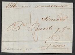 1847 - LAC- De MARSEILLE Pour GENES - Ms ELBE AVEC CONNAISSEMENT - VIA DI MARE L F - Poststempel (Briefe)