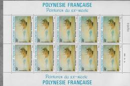 1983  Polynésie Française N° PA 178 à 181  Nf** . MNH . Feuille Entière  Peintures Du 20éme Siècle. - Airmail