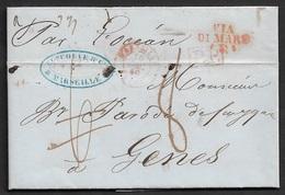 1850 - LAC - MARSEILLE Pour GENES. VIA DI MARE - PORT PAYÉ - Par L'Ocean. 8 Déc Taxe - 1801-1848: Precursors XIX