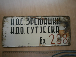 SPECIAL VEHICLE RETRO LICENSE PLATE SERBIA Yugoslavia SUTJESKA NUMMERNSCHILD WW2 LIBERATION SOC PLAQUE D'IMMATRICULATION - Number Plates