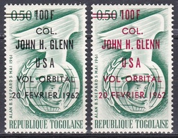 Togo 1962 Weltall Weltraum Kosmos Space Raumfahrt Astronautics Astronauten Kosmonauten John Glenn, Mi. 339 A+b ** - Togo (1960-...)