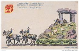 G11- PUBLICITÉ MAHUT - PMI CAREME - PARIS 1913 - CORTEGE DU BOUILLON KUB - LE DOLMEN - BERGER BRETON  -  (2 SCANS) - Publicité