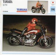 Yamaha XZ 550   -  1981  - Moto De Tourisme   -  Fiche Technique/Carte De Collection - Motorbikes