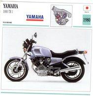Yamaha 1000 TR1   -  1980  - Moto De Tourisme   -  Fiche Technique/Carte De Collection - Motos