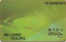 Carte De Membre Casino : Sands 澳門金沙 Macau Macao - Cartes De Casino
