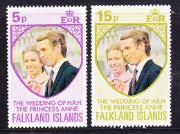 Falkland Islands 197 Royal Wedding Of Princess Anne 2v ** Mnh (41747A) - Falklandeilanden
