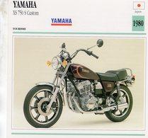 Yamaha XS 750 S Custom   -  1980  - Moto De Tourisme   -  Fiche Technique/Carte De Collection - Motos