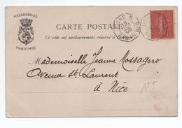 "1906 - CPA MESSAGERIES MARITIMES Avec TàD ""LIGNE N / PAQ. FR N°8"" Sur SEMEUSE LIGNEE - Postmark Collection (Covers)"