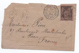 """1893 - ENVELOPPE Avec CACHET MARITIME """"LA REUNION A MARSEILLE / LV N°4"""" Sur SAGE - Postmark Collection (Covers)"""