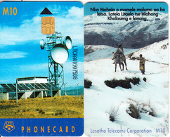 LESOTHO - Earth Station, First Issue, CN : LTCAA(large Thin Writing), Chip Siemens 35, Used - Lesotho