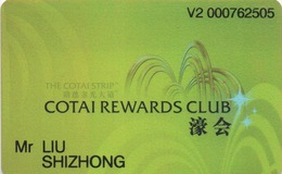 Carte De Membre Casino : The Venetian Cotai Rewards Club 濠会 Macau Macao - Cartes De Casino