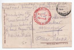 """1917 - CP FM Avec CACHET """"COMMISSION MILITAIRE FRANCAISE / GITE D'ETAPES DE LIVOURNE"""" - WW I"""