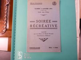Programme Alençon Soirée Récréative Du 5 Janvier 1934 Par Les éléves De L'Ecole Normale - Programme