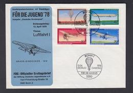 Bund FDC Mit 964-967 Jugend Luftfahrt Mit ESST Bonn 13.4.1978 - BRD
