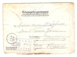 KRIEGSGEFANGENENPOST PRISONNIER 1941 JACQUES DÉGÉRINE N° 95733 STALAG XVII A 138 - Marcophilie (Lettres)