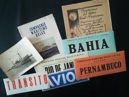 M/V M. S. COPACABANA BATEAU COMPAGNIE MARITIME BELGE LOT 7 VIEUX PAPIERS VOYAGE CONGO + CARTE POSTALE USAGÉE - Vecchi Documenti