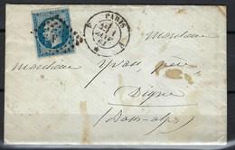 Paris, Bureau De Quartier, F Romain Dans Losange - Marcophilie (Lettres)