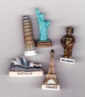 5 Fèves Monuments Du Monde Belgique France Italie Etats-Unis Australie Tour Eiffel Tour De Pise Statue Liberté... - Pays