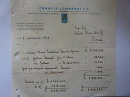 """Fattura """"FRANCIS LOMBARDI AEROPLANI TURISMO E SCUOLA VERCELLI"""" Conte Piero Aluffi, Siena 1948 - Italia"""