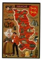 Les Départements Français, Contour Manche Illustré Françoise Dague (  Blason Normandie) Circulé - Cartes Géographiques