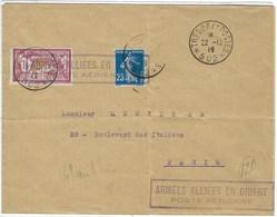 Vol Militaire Du Levant Pour Paris, En 1919 RARE - Storia Postale