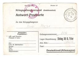 KRIEGSGEFANGENENPOST PRISONNIER CARTE 1941 HENRI PINSON N°8614 STALAG XVII D - SAINT MARTIN DE LA PLACE - Marcophilie (Lettres)