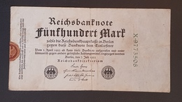 EBN8 - Germany 1922 Banknote 500 Mark Pick 74b Green 7 Digit Serial - 500 Mark