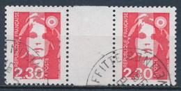 France - Marianne Du Bicentenaire (Briat) 2,30 Rouge YT 2614 Obl (paire + Interpanneau) - 1989-96 Marianne Du Bicentenaire