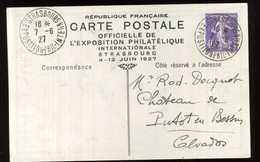 ENTIER BOURSE PHILATÉLIQUE JUIN 1927 STRASBOUG - Enteros Postales