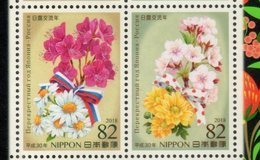 JAPAN, 2018, MNH, JOINT ISSUE WITH RUSSIA, FLOWERS, 2v - Joint Issues