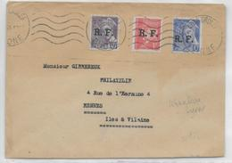 1944 - LIBERATION - ENVELOPPE Avec PETAIN Et MERCURE SURCHARGES RF De LYON => RENNES - Poststempel (Briefe)