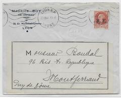 1944 - LIBERATION - ENVELOPPE Avec PETAIN SURCHARGE RF De LYON => MONTFERRAND - Marcophilie (Lettres)