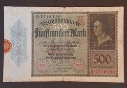 EBN8 - Germany 1922 Banknote 500 Mark Pick 73 #A.1716159 - [ 3] 1918-1933 : Repubblica  Di Weimar