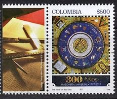 103 COLOMBIE 2017 - 300 Ans Le Compas - Masonic Franc Maconnerie Freemasonry Freimaurerei, Neuf ** (MNH) - Franc-Maçonnerie