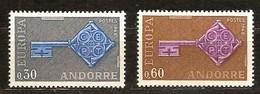 Cept 1968 Andorre Français Andorra Yvertnr. 188-89 *** MNH Cote 35 Euro - Andorre Français