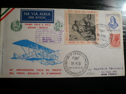 1968  Asiago- 53° Anniversario Volo A Vela Asiago-Trento Con Timbro Arrivo E Firma Pilota Al Verso - 6. 1946-.. Repubblica