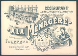 13 MARSEILLE Restaurant A La Ménagère Rue Pavillon Fournand - Cartes De Visite