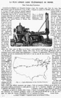 LA PLUS LONGUE LIGNE TELEPHONIQUE Du MONDE    1915 - Technical