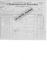 59 - Nord - LYS-LEZ-LANNOY - Facture DESBONNETS & DECLERCQ - Tissage - 1922 - REF 274 - France
