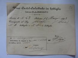 """Ricevute """"VINO CASTEL - CALATTUBO IN BOTTIGLIA Palermo 14 Marzo 1898"""" - Italia"""