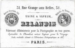 USINE A VAPEUR RELANDIN 31, RUE GRANGES - AUX - BELLES, 31 PARIS 10ème / FABRICANT D' EBENISTERIE POUR LA PHOTOGRAPHIE - Petits Métiers