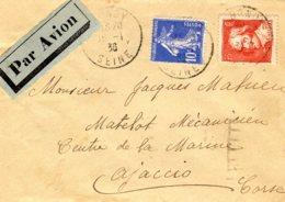 Lettre Par Avion Pour La Corse 16/01/36 Affrancjie à 85 C   LS = 50 C + Av = 35 C (tarif Du 01/10/28) - Postmark Collection (Covers)