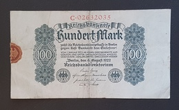 EBN8 - Germany 1922 Banknote 100 Mark Pick 75 - [ 3] 1918-1933 : Weimar Republic