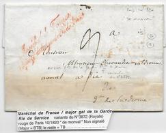1820 - LETTRE - RARE MARQUE Du MARECHAL De FRANCE / MAJOR Gal De La GARDE ROYALE De SERVICE (de MONVAL)=> DIE (DROME) - Marcofilia (sobres)