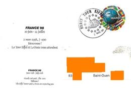 3 Mars 1998 100 Jours Avant Mondial En France Cachet Temporaire Paris Tour Eiffel Timbre Rond Ballon - 1998 – France