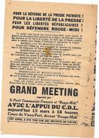 """APPEL A MEETING à MARSEILLE 13 MARS 194?  - DEFENSE DE LA PRESSE COMMUNISTE """" ROUGE-MIDI"""" - LIBERTE DE LA PRESSE - Documents Historiques"""